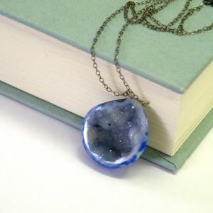 Cave Geode Necklace in Blue by BellaBejeweled